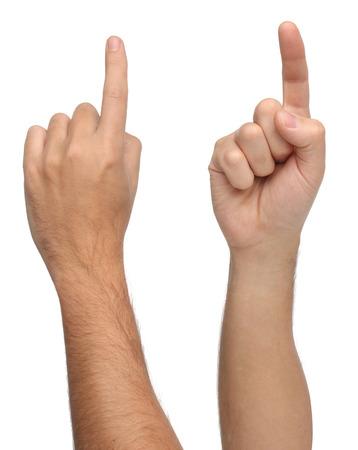 포인팅 또는 격리 된 뭔가를 만지고 손 표지판