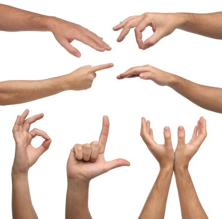 reverential: Collage di sesso maschile segni mani su sfondo bianco Archivio Fotografico