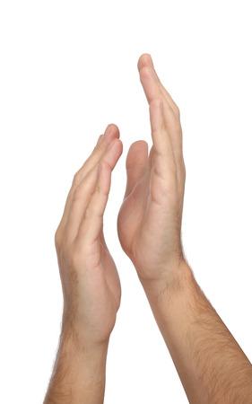 aplaudiendo: Aplaudiendo manos aisladas en fondo blanco