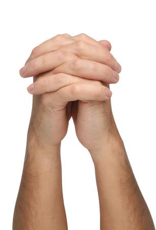 reverential: Due mani in preghiera isolato Archivio Fotografico
