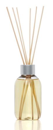 aromatherapy oil: Spa aromatherapy on white. Vanilla oil diffuser isolated Stock Photo