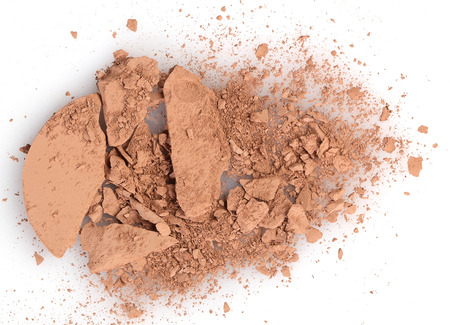 face close up: Close up of a make up powder on white background Stock Photo