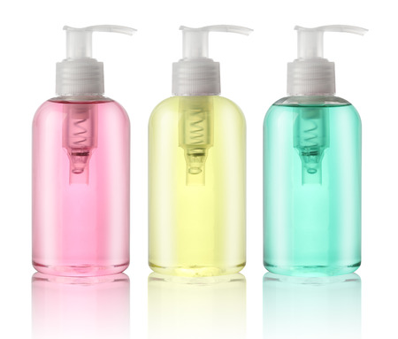 liquid soap: Three bottles of liquid soap isolated on white