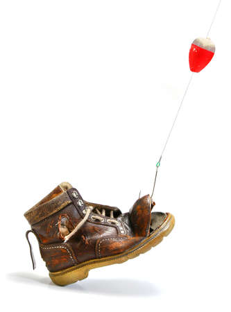 disenchantment: Catching an old shoe with a fishing pole. White background
