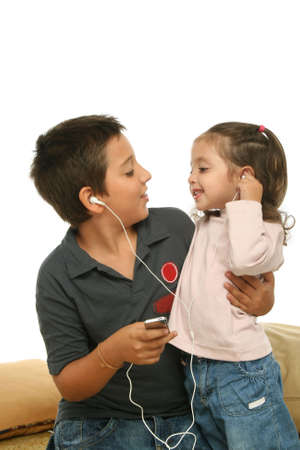 mp4: Brother and sister sharing a mp4 player
