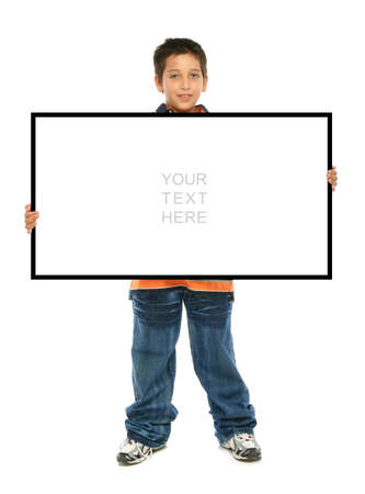 full frame: Child holding an empty sign over a white background