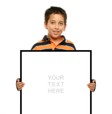 communicative: Child holding an empty sign over a white background