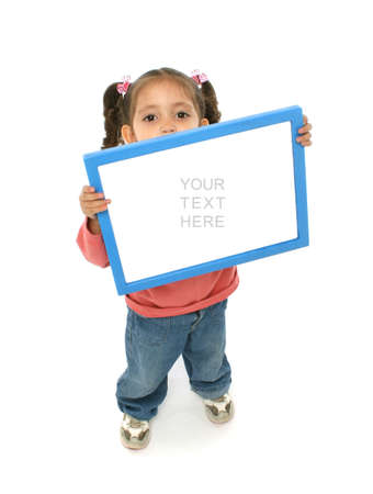 communicative: Toddler holding an empty sign over a white background Stock Photo