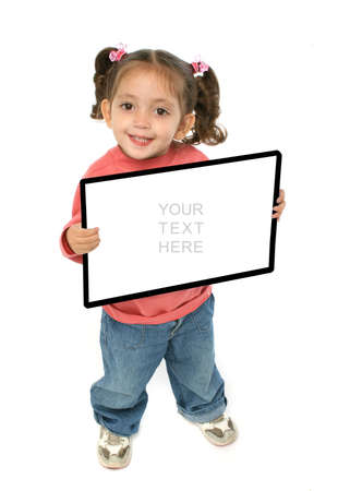 Toddler holding an empty sign over a white background Stock Photo