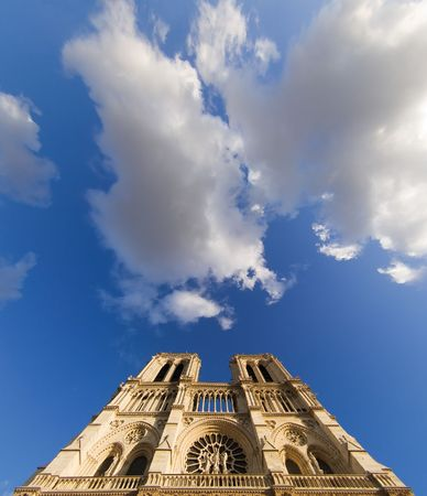 prayer tower: Low-angle view of Notre-Dame cathedral - Paris, France