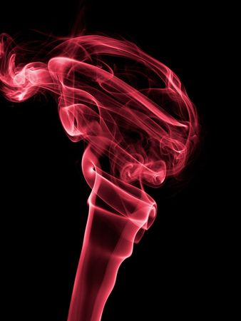 colorized: Colorized incense smoke trails on a black background