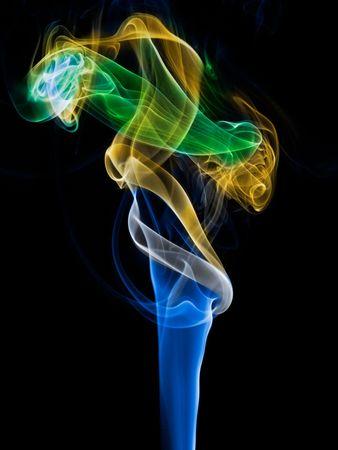 incienso: Coloreada de humo de incienso senderos sobre fondo negro