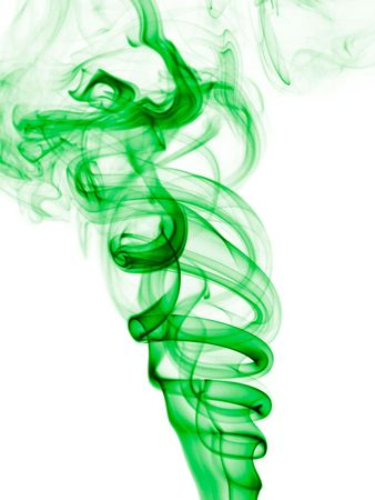 Colorized incense smoke trails on a white background