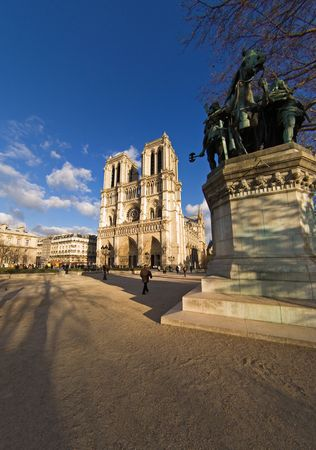 prayer tower: Wide-angle view of Notre-Dame cathedral - Paris, France Stock Photo