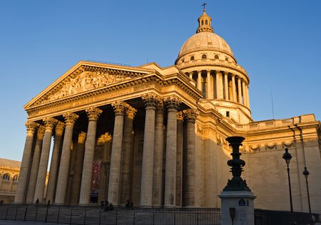 Wide-angle view of the Pantheon at dusk - Paris, France