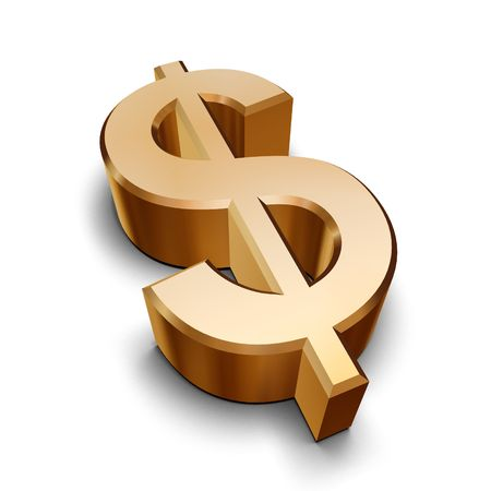 monies: A golden Dollar symbol isolated on a white background (3D rendering)