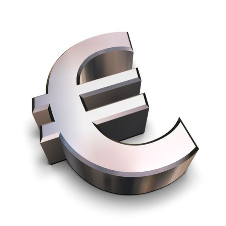 monies: A chrome-plated Euro symbol isolated on a white background (3D rendering) Stock Photo