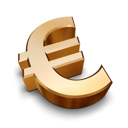 monies: A golden Euro symbol isolated on a white background (3D rendering)