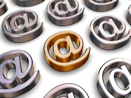 chromeplated: A single golden AT symbol surrounded by many chrome-plated AT symbols (3D rendering) Stock Photo