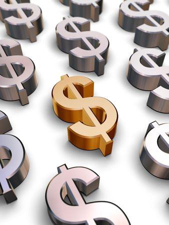 chromeplated: A single golden Dollar symbol surrounded by many chrome-plated Dollar symbols (3D rendering) Stock Photo