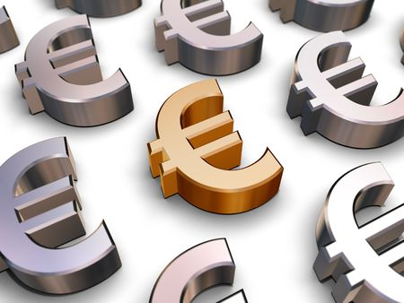 A single golden Euro symbol surrounded by many chrome-plated Euro symbols (3D rendering) Stock Photo