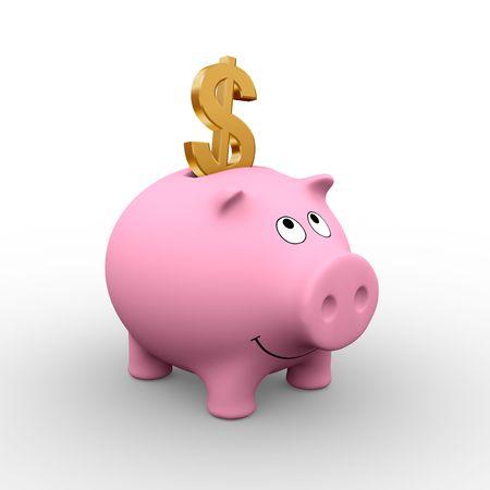 A golden Dollar in a pink piggy bank (3D rendering)