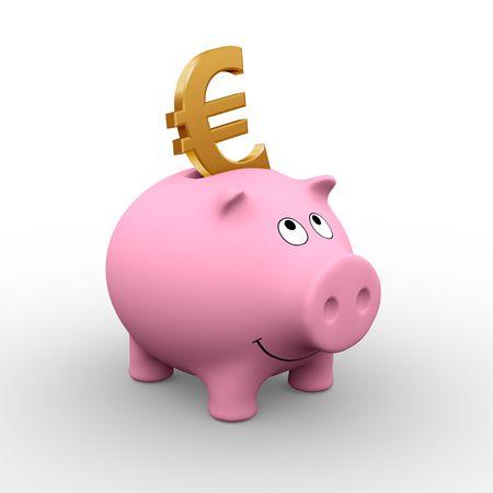 A golden Euro in a pink piggy bank (3D rendering) photo