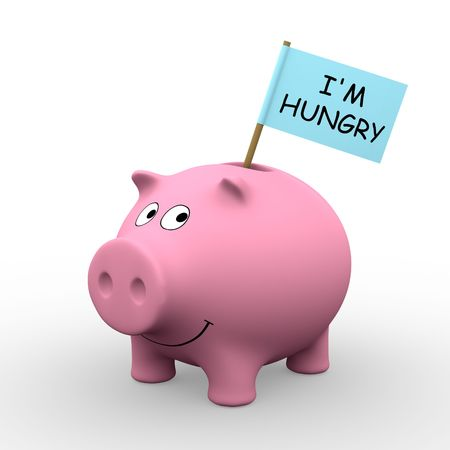 Pink piggybank with *Im hungry* written on a flag (3D rendering) - A clipping path is embedded to isolate the subject (no shadow)