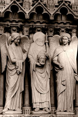 front porch: Stone statues on the front porch of Notre-Dame cathedral - Paris, France Stock Photo