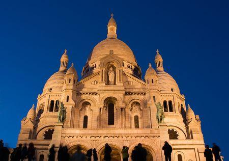 sacre: General view of the Sacre Coeur Basilica at twilight - Montmartre, Paris, France Stock Photo