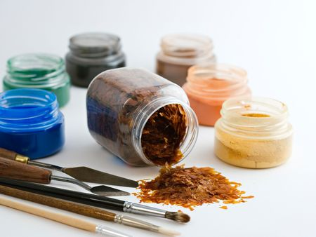 pigments: Powder pigments and laquer flakes on a white background