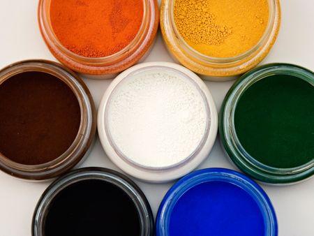 pigments: Top view of natural earth pigments pots