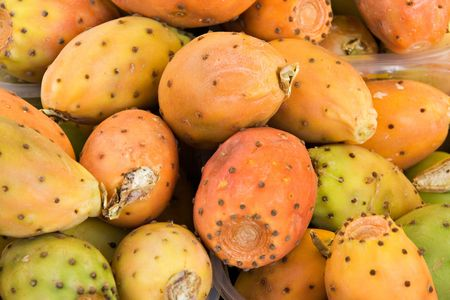 barbary: Barbary figs (cactus pears) at the market Stock Photo