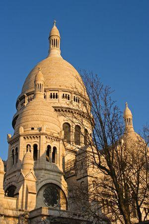 The dome of the Sacre Coeur Basilica at dusk - Montmartre, Paris, France photo
