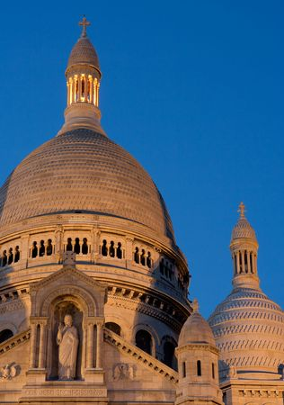 Twilight view of the dome of the Sacre Coeur Basilica - Montmartre, Paris, France photo