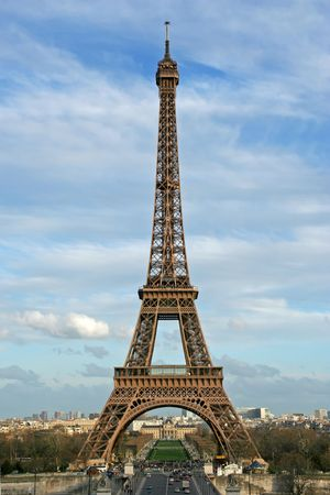 The Eiffel tower as seen from the Trocadero square - Paris, France Stock Photo - 360524