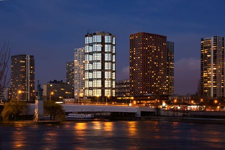 Twilight view of the Beaugrenelle quarter, Lady Liberty, and the Seine river - Paris, France photo
