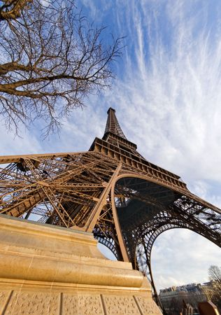 Low-angle fisheye view of the Eiffel tower - Paris, France Stock Photo - 366492