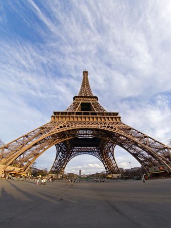Fisheye view of the Eiffel tower - Paris, France Stock Photo - 366490