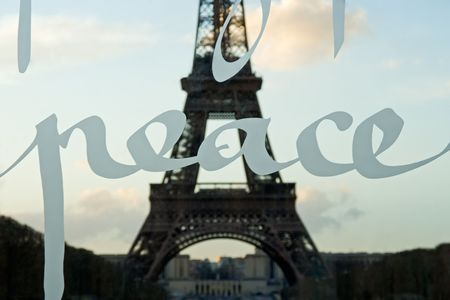 The Eiffel tower shot through the Wall for Peace - Paris, France Stock Photo - 366494