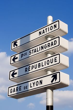french way: Parisian street orientation signs - Paris, France