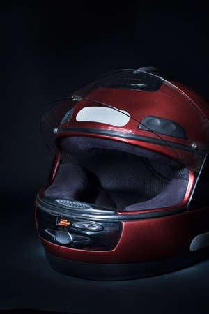 Low-key of a full-face motorbike helmet Stock Photo