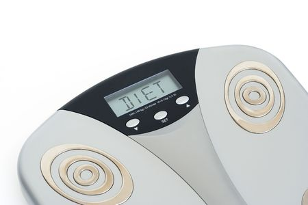 body dimensions: Bathroom scale showing DIET on its display