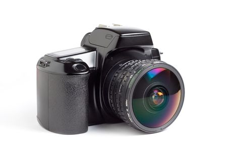 A 35mm SLR camera with an 8mm fisheye lens isolated on a white background Stock Photo - 410525