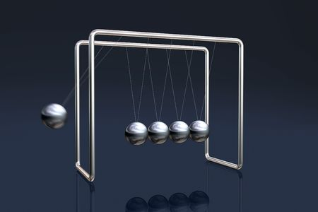 Newtons cradle in action (motion blur) on a dark reflective background