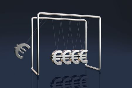 Newtons cradle with euro symbols on a dark reflective background