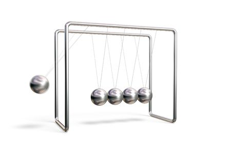 Newtons cradle in action (motion blur) isolated on a white background Stock Photo