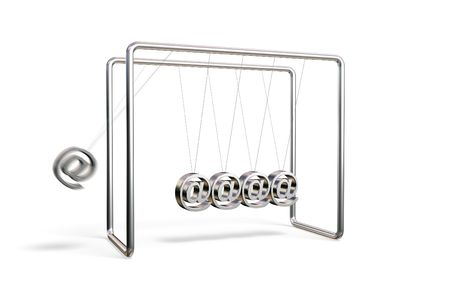 Newtons cradle with AT symbols isolated on a white background Stock Photo