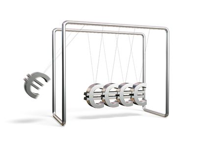 Newtons cradle with euro symbols isolated on a white background Stock Photo