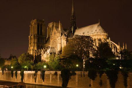 prayer tower: Notre-Dame di notte - Parigi, Francia  Archivio Fotografico